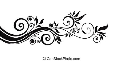 floral, pretas, desenho