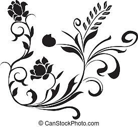 floral, pretas