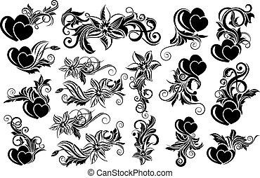 floral, pretas, projete elemento