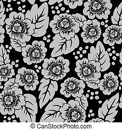 floral, pretas, seamless, fundo