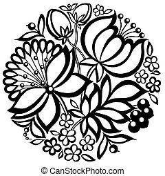 floral, preto-e-branco, círculo, forma, arranjo