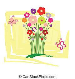 floral, primavera, cartão cumprimento, verão