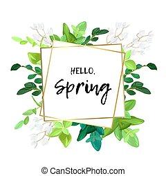 floral, primavera, desenho, com, branca, maio, flores, verde sai, eucaliptus, e, succulents., geomã©´ricas, ouro, quadro, com, espaço, para, texto, vetorial, illustration.