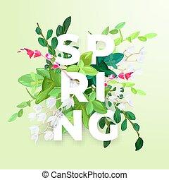 floral, primavera, desenho, com, branca, maio, flores, verde sai, eucaliptus, e, succulents., tipografia, com, 3d, effect., vetorial, illustration.