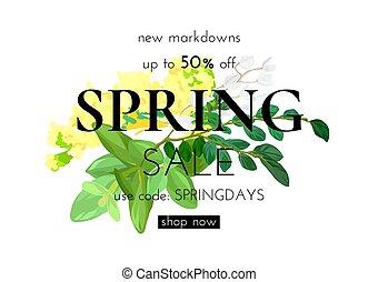 floral, primavera, desenho, com, branco amarelo, flores, verde sai, eucaliptus, e, succulents., modernos, modelo, venda, voador, vetorial, illustration.