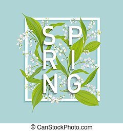 floral, primavera, desenho, modelo, para, cartão, venda, bandeira, cartaz, painél publicitário, cobertura, t-shirt, print., fundo, com, lírio, flowers., vetorial, ilustração
