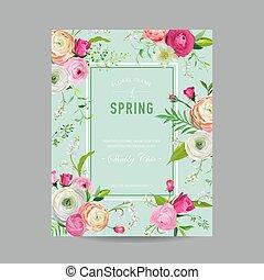 floral, primavera, desenho, modelo, para, convite casamento, cartão cumprimento, venda, bandeira, cartaz, painél publicitário, cover., fundo, com, lírio, flowers., vetorial, ilustração