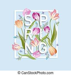 floral, primavera, desenho, para, cartão, venda, bandeira, cartaz, t-shirt, print., fundo, com, flores, florescer, tulips., vetorial, ilustração