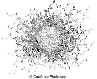 floral, primavera, esfera