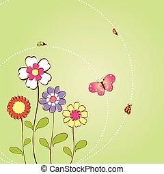 floral, primavera, fundo, verão