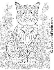 floral, primavera, jardín, gato