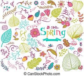 floral, primavera, projete elementos, em, doodle, estilo
