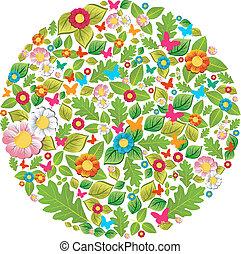 floral, primavera, y, verano, círculo