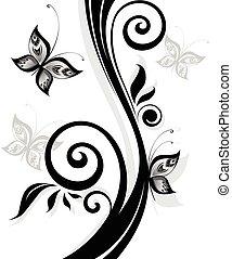 floral print, fekete