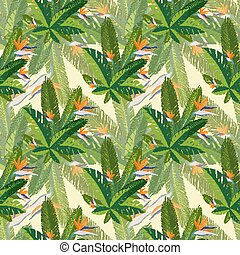 Floral print. tropical palm leaves seamless pattern. Vector illustration.