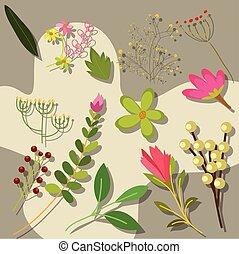 floral, printemps, éléments, fond