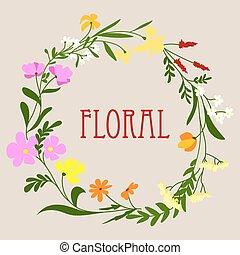 floral, printemps, cadre, fleurs, coloré