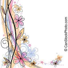 floral, printemps, clair, fond