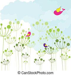 floral, printemps, coloré, oiseau