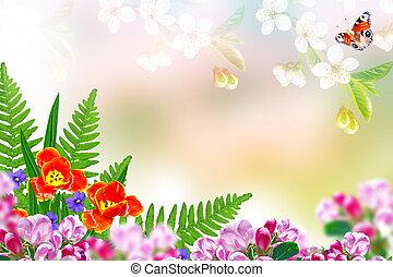 floral, printemps, flowers., clair, fond
