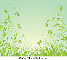 floral, printemps, fond