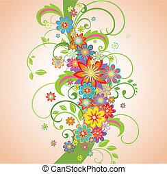 floral, printemps, frontière