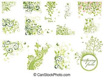 floral, printemps, mettez stylique