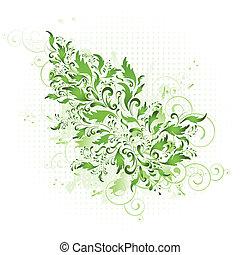 floral, printemps, vert