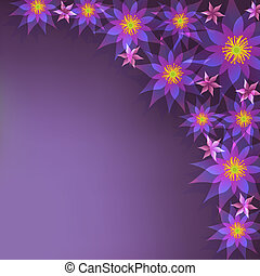 Floral purple background, greeting card with flowers