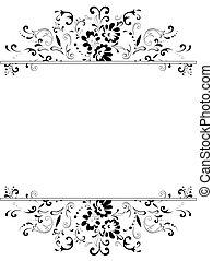 floral, quadro, em, preto branco