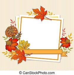 floral, quadro, folhas, outono