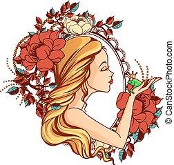 floral, quadro, ilustração, rã, princesa