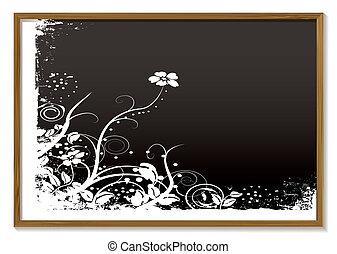floral, quadro-negro