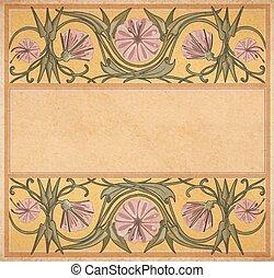 floral, quadro, papel, antigas