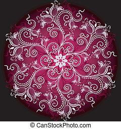 floral, quadro, redondo
