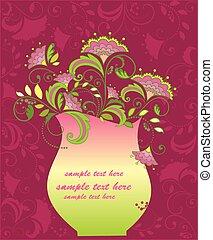 floral, quadro, vaso