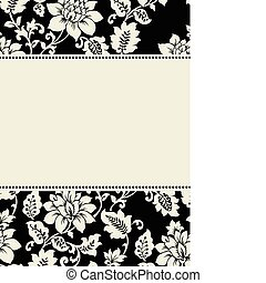 floral, quadro, vetorial, creme