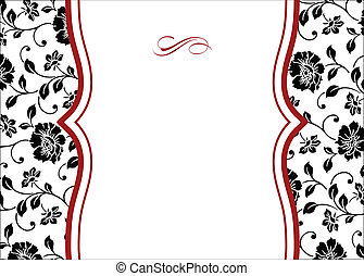 floral, quadro, vetorial, vermelho