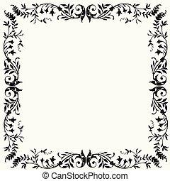 floral, quadro, vetorial