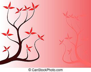 floral, résumé, arrière-plan rouge