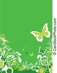 floral, résumé, arrière-plan vert
