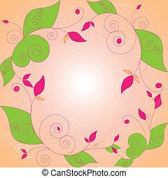 floral, résumé, cadre, printemps