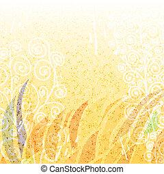 floral, résumé, clair, fond, beige