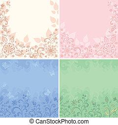 floral, résumé, ensemble, arrière-plans