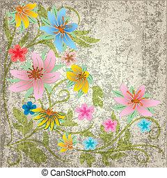 floral, résumé, fleurs, grunge, fond