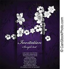 floral, résumé, fond, invitation