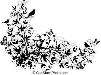 floral, résumé, frontière
