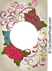 floral, résumé, oriental, carte