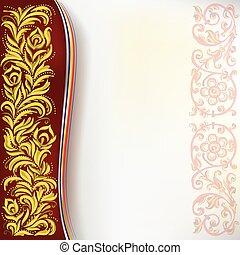 floral, résumé, ornement, arrière-plan rouge