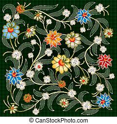 floral, résumé, ornement, fond